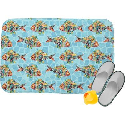 Mosaic fish memory foam bath mat personalized you for Fish bath mat