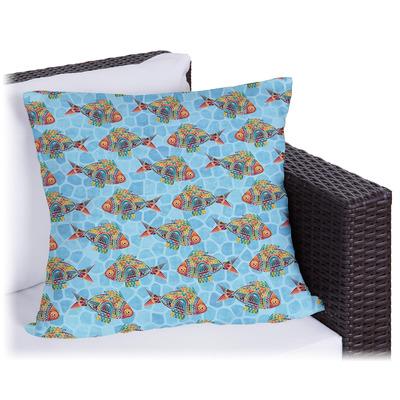 Mosaic Fish Outdoor Pillow