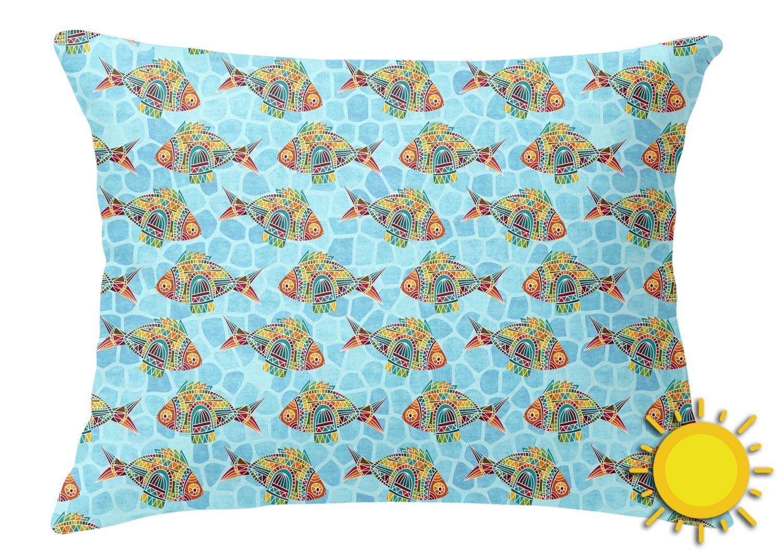 Mosaic fish outdoor throw pillow rectangular for Fish throw pillows