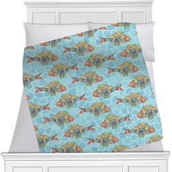 "Mosaic Fish Fleece Blanket - Twin / Full - 80""x60"" - Double Sided (Personalized)"