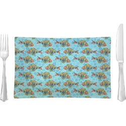 Mosaic Fish Rectangular Glass Lunch / Dinner Plate - Single or Set