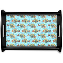 Mosaic Fish Black Wooden Tray (Personalized)