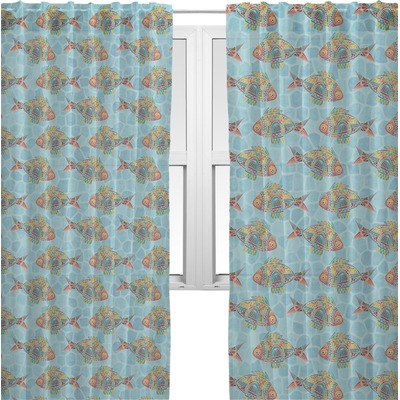 Mosaic fish sheer curtains personalized youcustomizeit for Fish curtains for windows