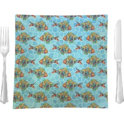 """Mosaic Fish Glass Square Lunch / Dinner Plate 9.5"""" - Single or Set of 4 (Personalized)"""