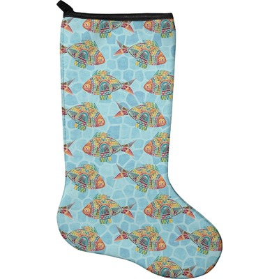 Mosaic fish christmas stocking single sided neoprene for Fish christmas stocking
