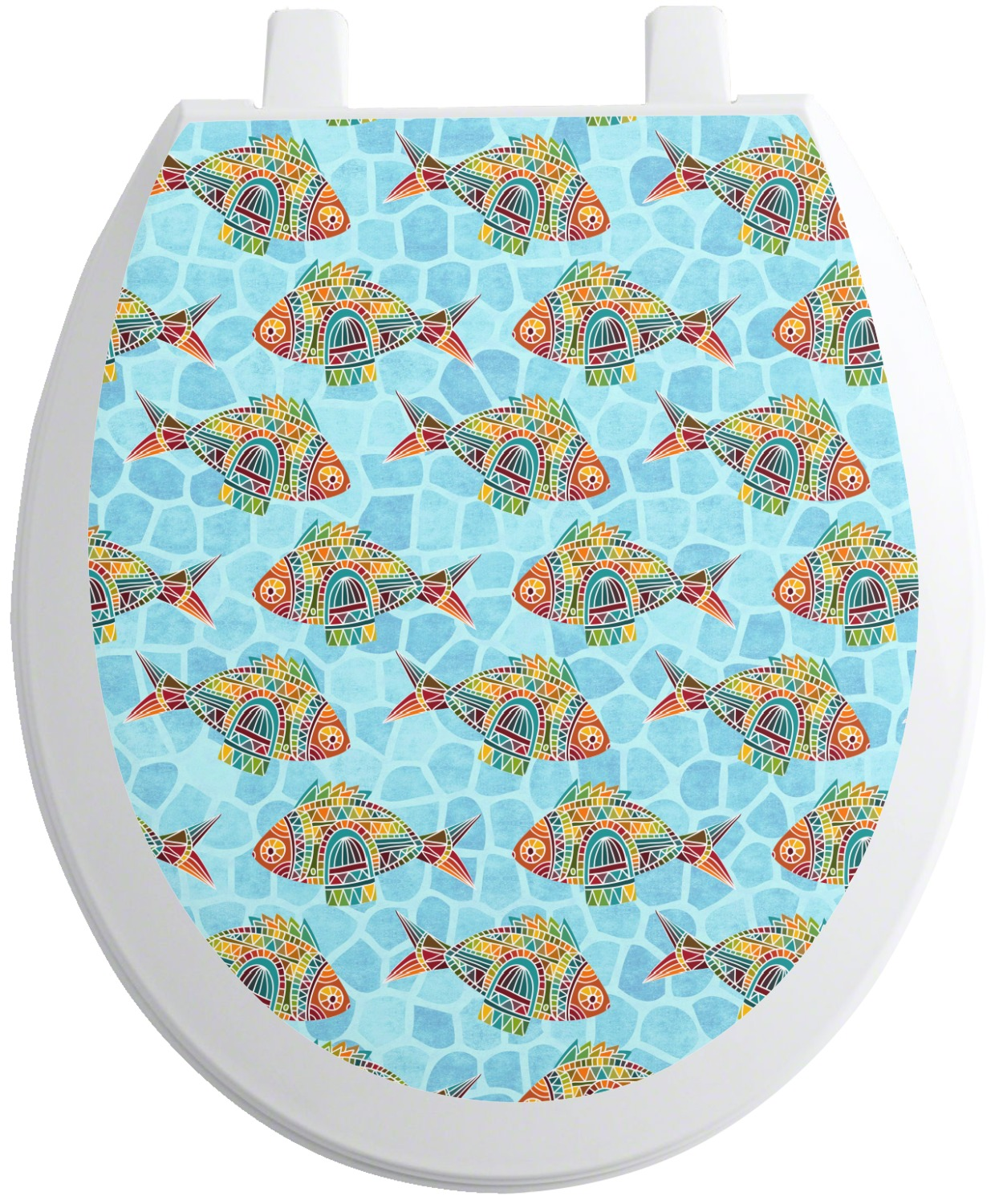 Mosaic fish toilet seat decal personalized youcustomizeit for Fish toilet seat