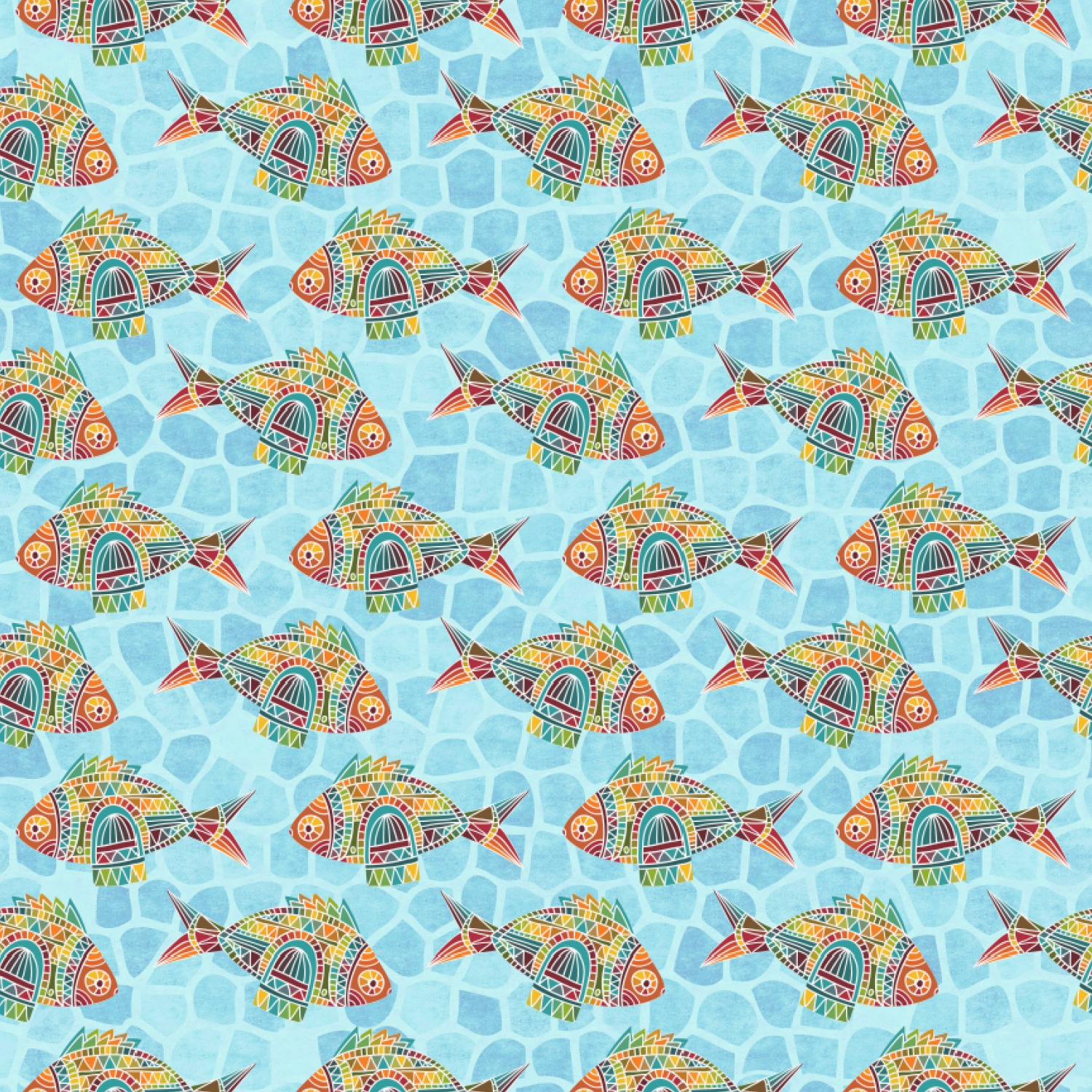 Mosaic fish wrapping paper personalized youcustomizeit for Fish wrapping paper