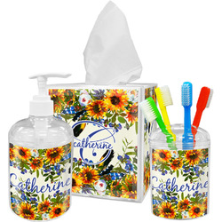 Sunflowers Acrylic Bathroom Accessories Set w/ Name and Initial