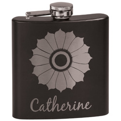 Sunflowers Black Flask Set (Personalized)