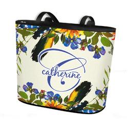 Sunflowers Bucket Tote w/ Genuine Leather Trim (Personalized)