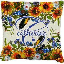 Sunflowers Faux-Linen Throw Pillow (Personalized)