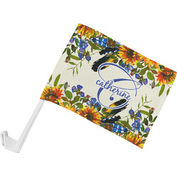 Sunflowers Car Flag - Small w/ Name and Initial