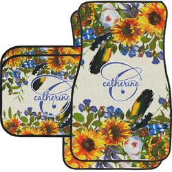 Sunflowers Car Floor Mats Set - 2 Front & 2 Back (Personalized)