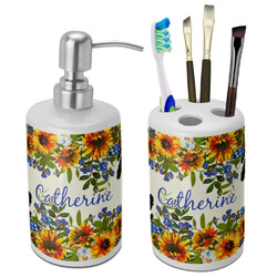 Sunflowers Ceramic Bathroom Accessories Set (Personalized)