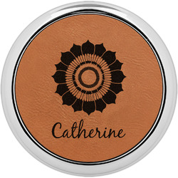 Sunflowers Leatherette Round Coaster w/ Silver Edge - Single or Set (Personalized)