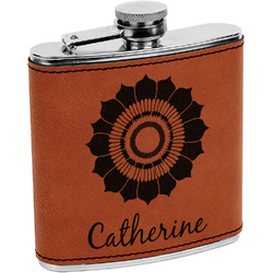 Sunflowers Leatherette Wrapped Stainless Steel Flask (Personalized)