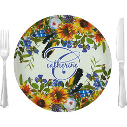 """Sunflowers 10"""" Glass Lunch / Dinner Plates - Single or Set (Personalized)"""