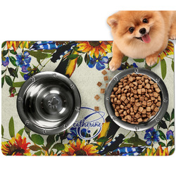 Sunflowers Dog Food Mat - Small w/ Name and Initial