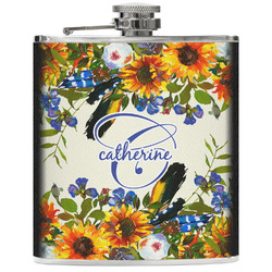 Sunflowers Genuine Leather Flask (Personalized)