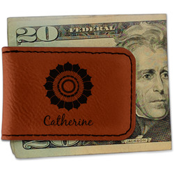 Sunflowers Leatherette Magnetic Money Clip (Personalized)
