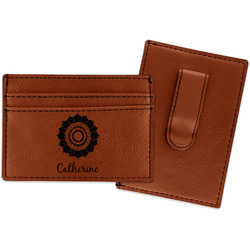 Sunflowers Leatherette Wallet with Money Clip (Personalized)