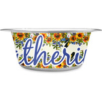 Sunflowers Stainless Steel Pet Bowl (Personalized)