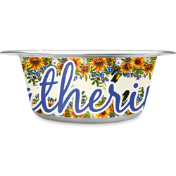 Sunflowers Stainless Steel Dog Bowl (Personalized)