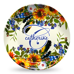 Sunflowers Microwave Safe Plastic Plate - Composite Polymer (Personalized)