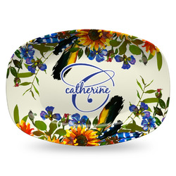 Sunflowers Plastic Platter - Microwave & Oven Safe Composite Polymer (Personalized)