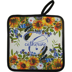 Sunflowers Pot Holder w/ Name and Initial