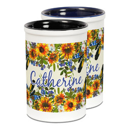 Sunflowers Ceramic Pencil Holder - Large