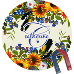 Sunflowers Round Fridge Magnet (Personalized)