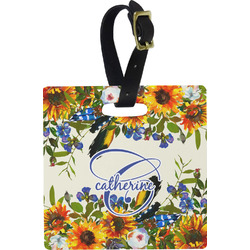 Sunflowers Plastic Luggage Tag - Square w/ Name and Initial