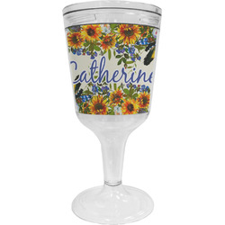 Sunflowers Wine Tumbler - 11 oz Plastic (Personalized)