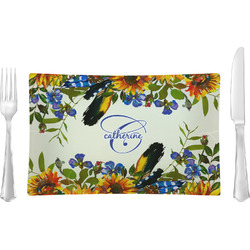 Sunflowers Rectangular Glass Lunch / Dinner Plate - Single or Set (Personalized)