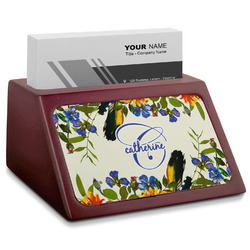 Sunflowers Red Mahogany Business Card Holder (Personalized)