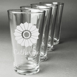 Sunflowers Beer Glasses (Set of 4) (Personalized)