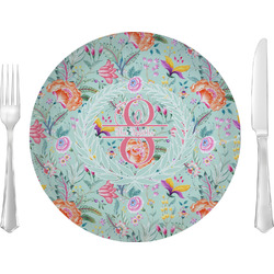 """Exquisite Chintz 10"""" Glass Lunch / Dinner Plates - Single or Set (Personalized)"""