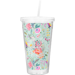 Exquisite Chintz Double Wall Tumbler with Straw (Personalized)
