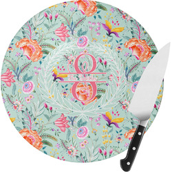 Exquisite Chintz Round Glass Cutting Board (Personalized)