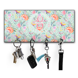 Exquisite Chintz Key Hanger w/ 4 Hooks w/ Name and Initial