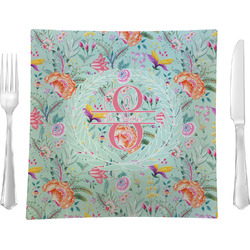 """Exquisite Chintz 9.5"""" Glass Square Lunch / Dinner Plate- Single or Set of 4 (Personalized)"""