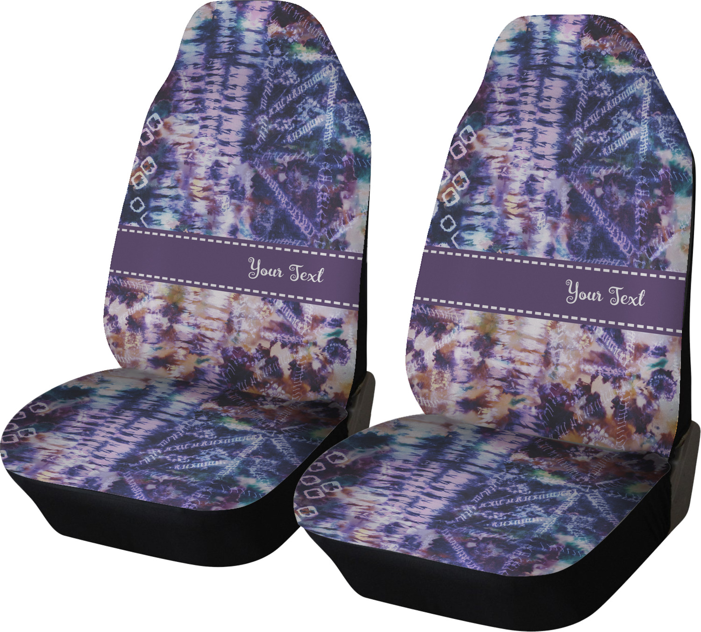 SEANATIVE Non Slip Neoprene Front Seat Covers Full Set of 2 Piece Rainbow Tie Dye Auto Car Interior Accessories Universal Size Vehicle Protector