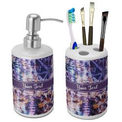 Tie Dye Bathroom Accessories Set (Ceramic) (Personalized)