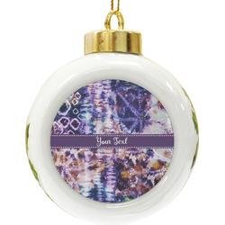 Tie Dye Ceramic Ball Ornament (Personalized)