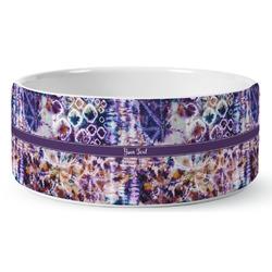 Tie Dye Ceramic Dog Bowl (Personalized)