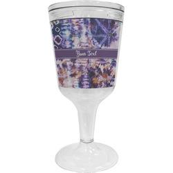 Tie Dye Wine Tumbler - 11 oz Plastic (Personalized)