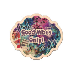 Tie Dye Genuine Maple or Cherry Wood Sticker (Personalized)
