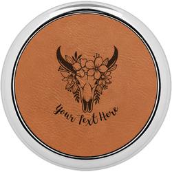 Boho Leatherette Round Coaster w/ Silver Edge - Single or Set (Personalized)