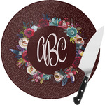 Boho Round Glass Cutting Board (Personalized)
